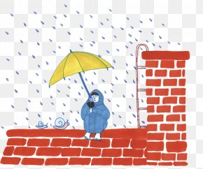 Hand Painted Rainy Days Squat On A Square Brick Roof - Brick Rain Roof Google Images PNG