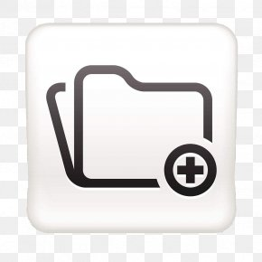 White Square Plus File Button - Button Download Icon PNG