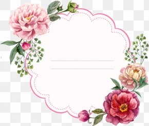 Peony Flower Painted Circular Border - Picture Frame Flower Floral Design Stock Photography PNG