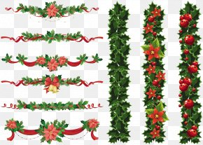 Christmas Elements Transparent Image - Christmas Garland Wreath Clip Art PNG