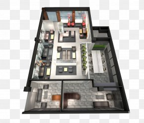 3D Hall Plan View - Furniture Floor Plan Couch PNG