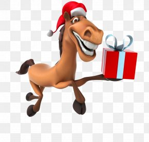 Funny Horse Gift Box - Horse New Year Santa Claus Christmas Clip Art PNG