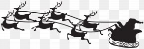 Santa On Sled Silhouette Clip Art Image - Santa Claus Christmas Clip Art PNG