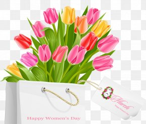 Happy Womens Day Gift Bag With Tulips - International Women's Day Public Holiday March 8 Woman PNG