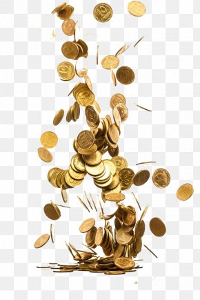 Scattered Coins - Gold Coin Piggy Bank Saving Money PNG