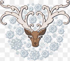 Antlers Painted Silver Snowflake Pattern - Reindeer Pxe8re Davids Deer Clip Art PNG