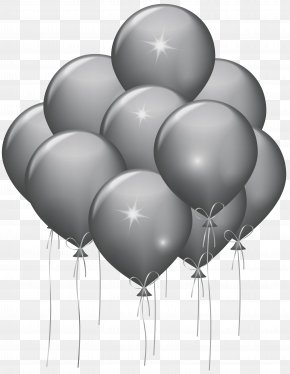 Silver Balloons Transparent Clip Art Image - Balloon Party Gold Confetti Birthday PNG