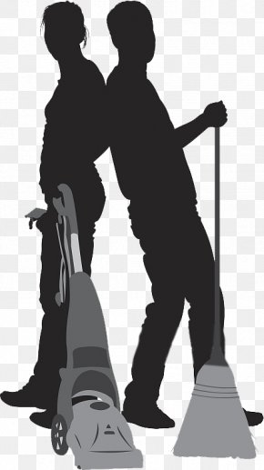 Silhouettes Designed For Cleaning Up Men And Women - Silhouette Vacuum Cleaner Cleaning PNG