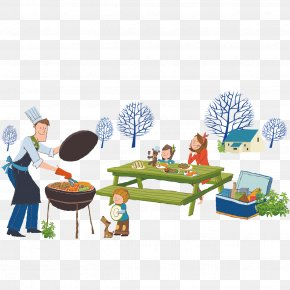 Vector Family Outdoor Dining - Barbecue Grill Picnic Illustration PNG