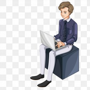 Man Sitting In The Box On The Internet - Profession Cartoon Illustration PNG