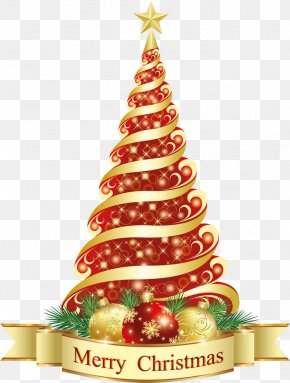 Merry Christmas Red Tree Clipart - Christmas Tree Christmas Ornament Clip Art PNG
