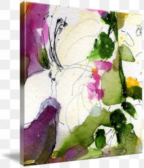 Square Abstract - Floral Design Watercolor Painting Modern Art PNG