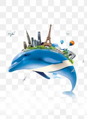 Building On The Creative Background Blue Dolphin - Dolphin PNG