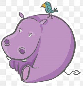 Cartoon Hippo Vector - Domestic Pig Hippopotamus Illustration PNG