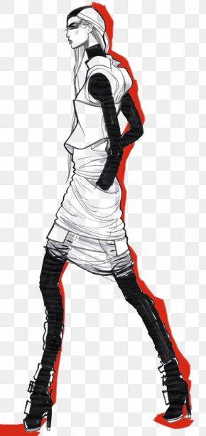 Black And White Woman - Drawing Fashion Illustration Black And White Illustration PNG