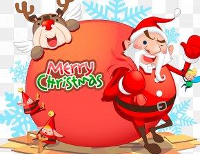 Santa Claus Presents Presents - Rudolph Santa Claus Reindeer Christmas Ornament Illustration PNG