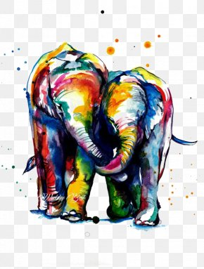 Color Elephant - Canvas Print Watercolor Painting Printmaking Printing PNG