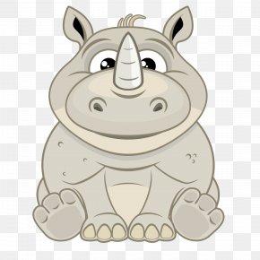 Cartoon Rhino - Cartoon Rhinoceros Illustration PNG