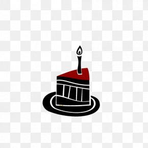 Black And White Candle On The Cake - Candle Black And White Cake PNG