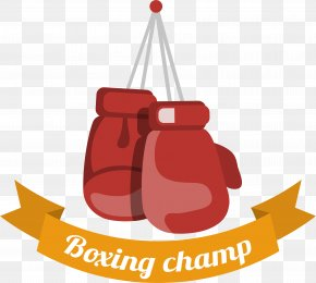 Red Boxing Glove Label - Boxing Glove PNG