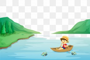 A Boy Rowing On A River In The Mountains - Rowing Boat Clip Art PNG