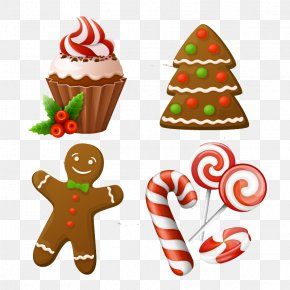 4 Christmas Cake Dessert Vector Material - Christmas Cake Candy Cane Gingerbread Man PNG