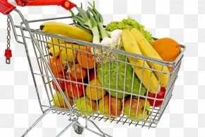 Shopping Cart Filled With Fruits And Vegetables - Shopping Cart Fruit Supermarket Shopping Centre PNG