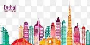 Dubai City Vector Illustration - Burj Khalifa Skyline Skyscraper Illustration PNG