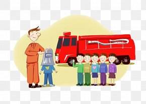 Firefighters Teach Children Fire Knowledge - Firefighter Firefighting Clip Art PNG