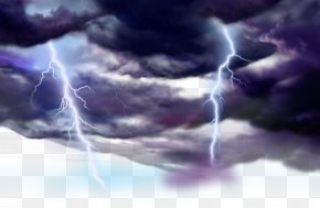 Thunder And Lightning Weather Clouds Painted Cartoon - Cloud Lightning Thunder Cartoon PNG