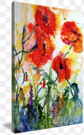 Poppy Watercolor Painting - Modern Watercolor: A Playful And Contemporary Exploration Of Watercolor Painting Floral Design Art Imagekind PNG