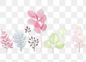 Cartoon Color Hand-painted Watercolor Flowers And Leaves - Bird Flower Butterfly Watercolor Painting PNG