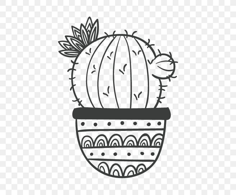 Black And White Cactaceae Drawing Painting, PNG, 500x678px, Black And White, Area, Art, Black, Cactaceae Download Free