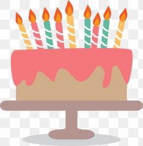 Birthday Cake With Candles Flat - Birthday Cake Greeting Card Clip Art PNG