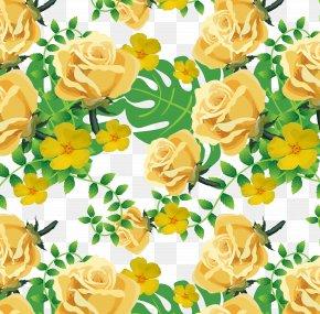 Summer Garden Pattern - Yellow Garden Roses Euclidean Vector PNG