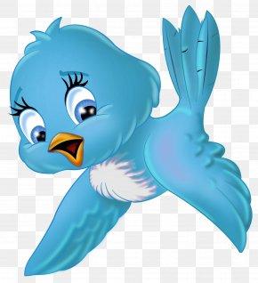 Large Blue Bird Cartoon Clipart - Bird Cartoon Clip Art PNG