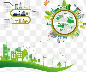 Vector Green City - City Skyline Clip Art PNG