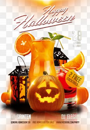 Pumpkin Lantern - Halloween Costume Party Flyer PNG