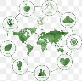 Green Environmental Vector Map - India United States Globe World Map PNG