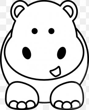 Hippos Cartoon - Black And White Cartoon Drawing Animal Clip Art PNG