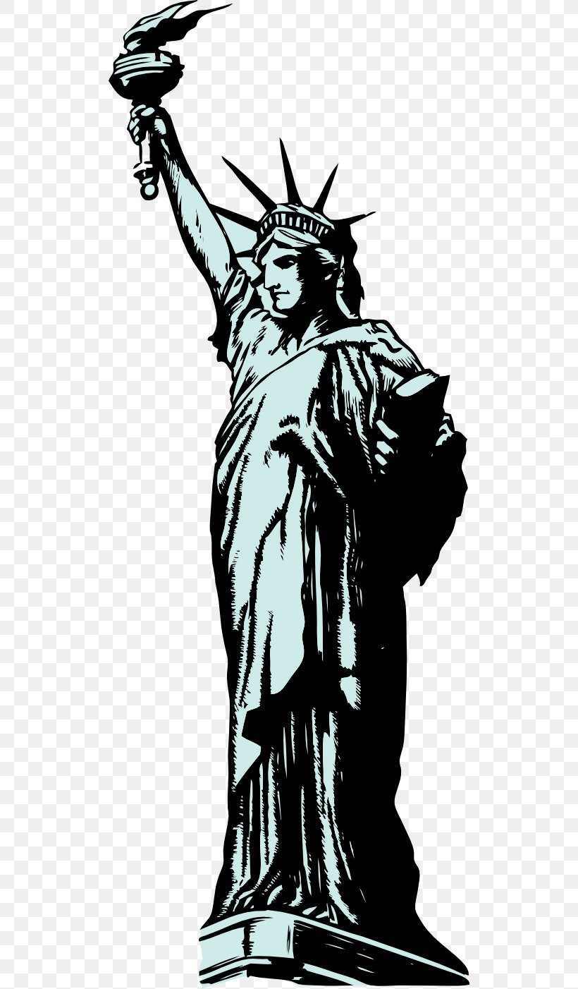 Statue Of Liberty Drawing Clip Art, PNG, 512x1402px, Statue Of Liberty, Art, Black And White, Demon, Drawing Download Free