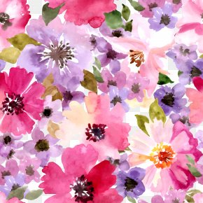 Watercolor Floral Seamless Background Vector Material PNG