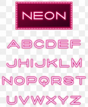 Neon Light Effect Word - Neon Lighting Letter Case Font PNG