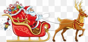 Santa Claus - Rudolph Santa Claus Reindeer Sled Clip Art PNG