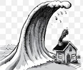 Hand Painted Illustrations Of Flood And Tsunami - Tsunami Cartoon Wave Illustration PNG