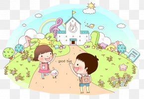 Cartoon Illustration From School Goodbye - Cartoon Child Illustration PNG