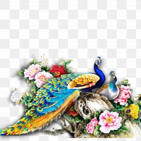 Peacock - Paper Wall Painting Mural PNG