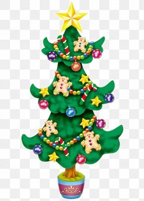 Green Christmas Tree Decoration Cartoon Winnie - Santa Claus Christmas Tree Wall Decal Christmas Decoration PNG