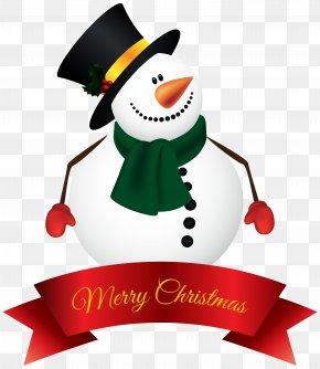 Snowman Banner Clipart Image - Santa Claus Snowman Christmas Clip Art PNG