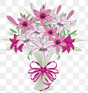 Cartoon Lily Bouquet - Flower Bouquet Party Clip Art PNG